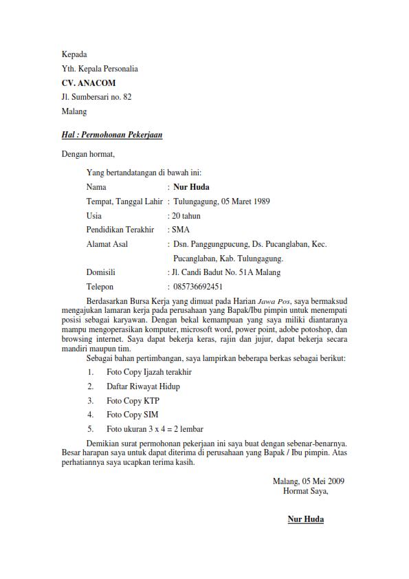 Contoh Surat Lamaran Untuk Melamar Ke Indomaret di 2020