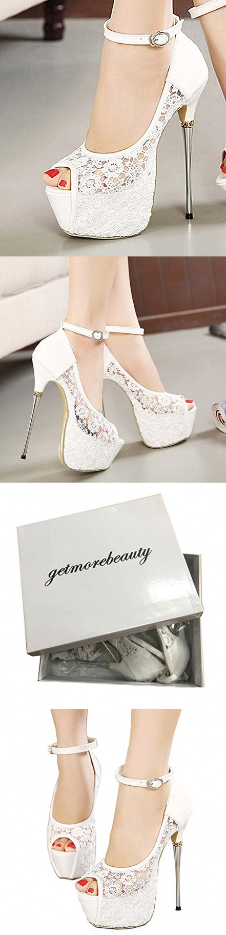 37812c44324 Getmorebeauty Women s White Lace Flower Strappy Hollow High Heels 5 B(M) US