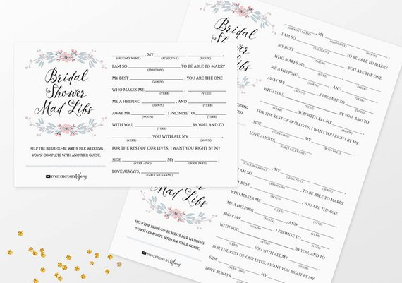 Instant Download Printable Bridal Shower Mad Libs