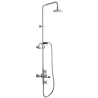 Kallista: Hampstead Traditional Shower Set With Exposed Thermostatic Valve  And Handshower, Black Porcelain Lever