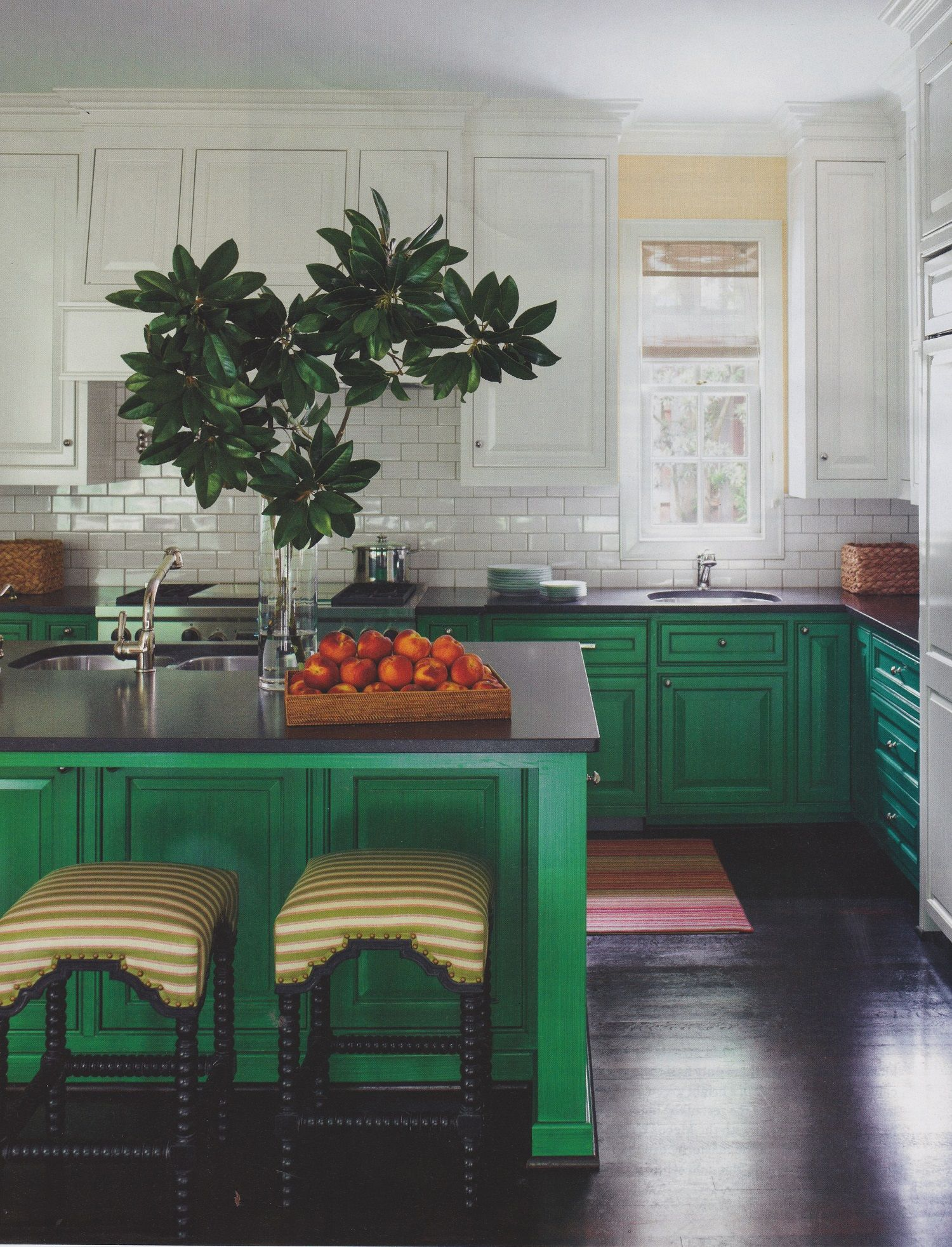 Kitchen With White Upper Cabinets And Green Lower Cabinets Green Island Design By J Randall Pow Green Kitchen Cabinets Upper Kitchen Cabinets Kitchen Design