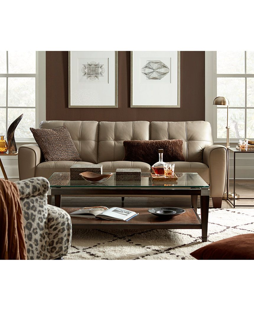 Kaleb Tufted Leather Sofa Created For Macy 39 S Tufted Leather Sofa Leather Sofas And Couch Sofa
