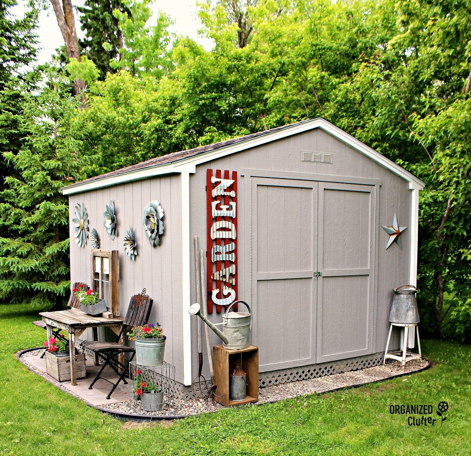 My New Junk Garden Shed Backyard Storage Sheds Shed Landscaping Shed Decor