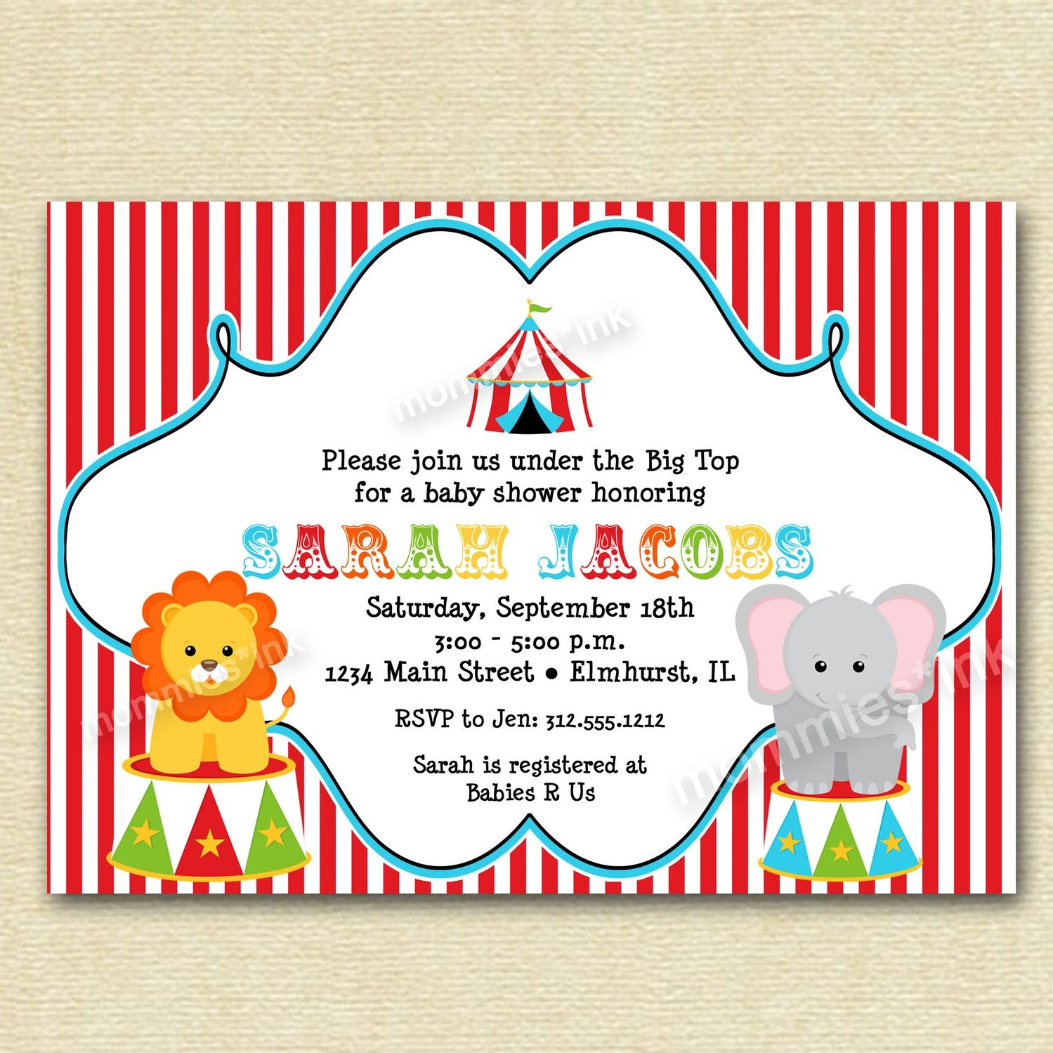 Circus Big Top Baby Shower Invitation PRINTABLE INVITATION