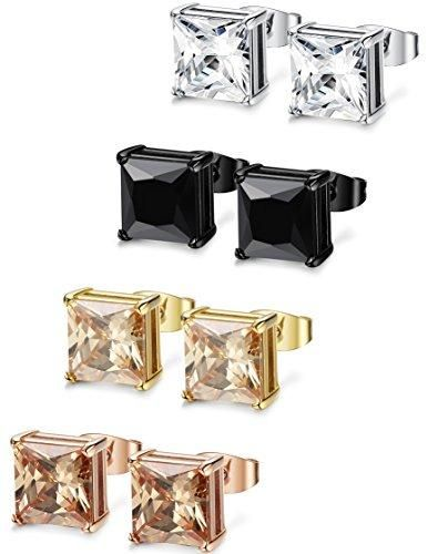 1b2e2a9dfddb2 FIBO STEEL 4 Pairs Stainless Steel Square Stud Earrings for Men ...