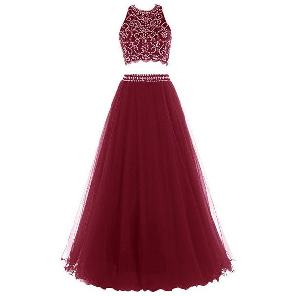 Princess Halter Tulle Floor Length Beading Two Piece Red Long Prom... ($149