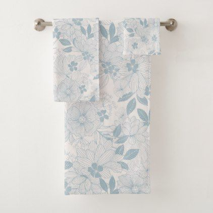 Light Blue Gray Vintage Flowers Pattern Bath Towel Set