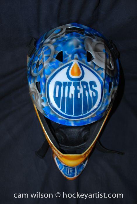 730d1273ec3 Edmonton Oilers Gear Theme - Goalie Mask Airbrushing by Cam Wilson  www.hockeyartist.com