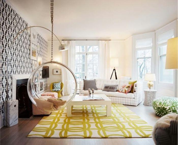 elegantes zimmer mit einer indoor schaukel - gelber teppich | Ides ...