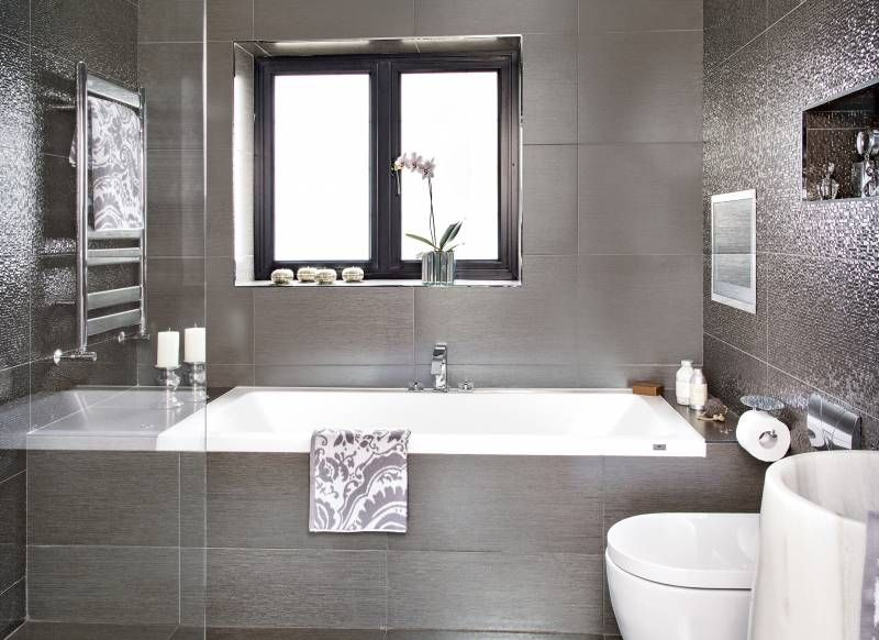 Glamorous Grey Bathroom With Shimmering Metallic Tiles