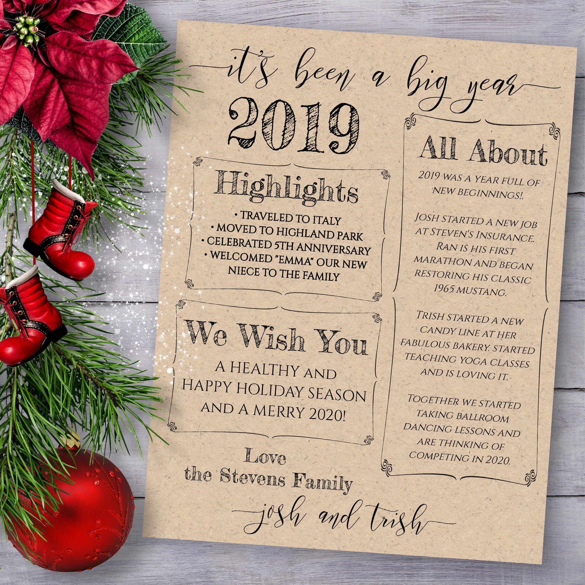Christmas Letter Template Year In Review Christmas Newsletter