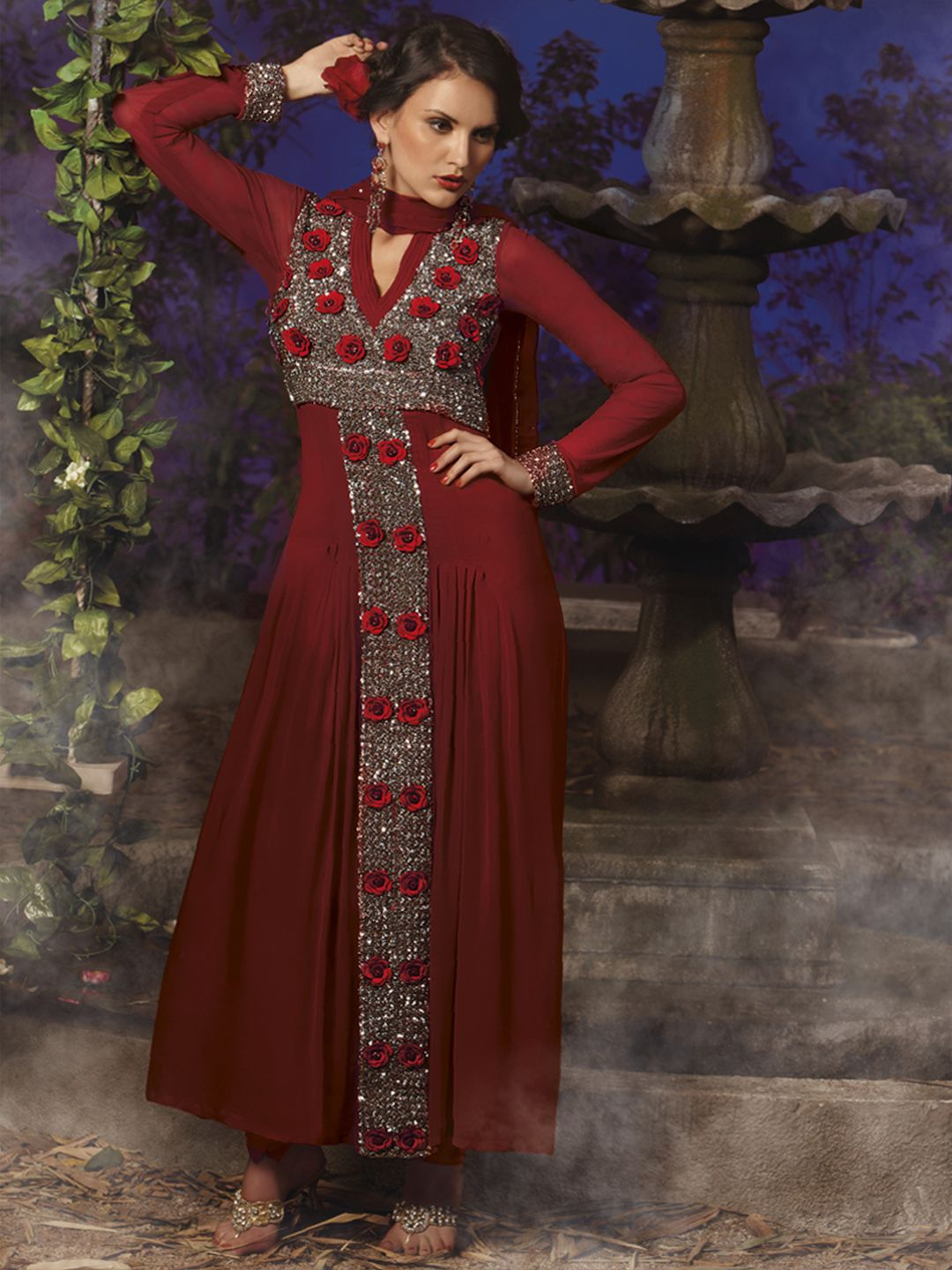Maroon faux georgette embroidered salwar suit price ub to