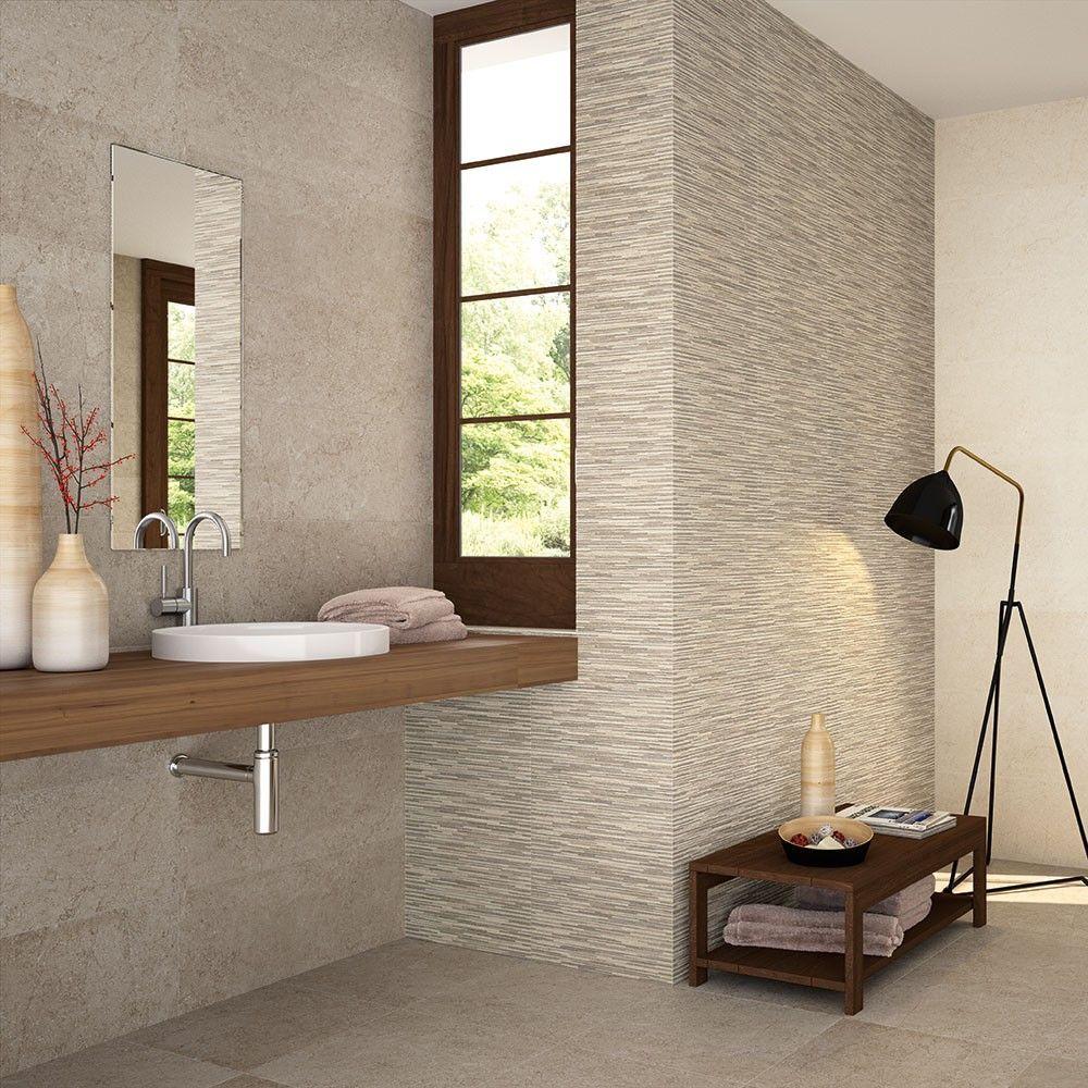 Beige Decor Stone Effect Tiles | Cheap bathroom flooring ...