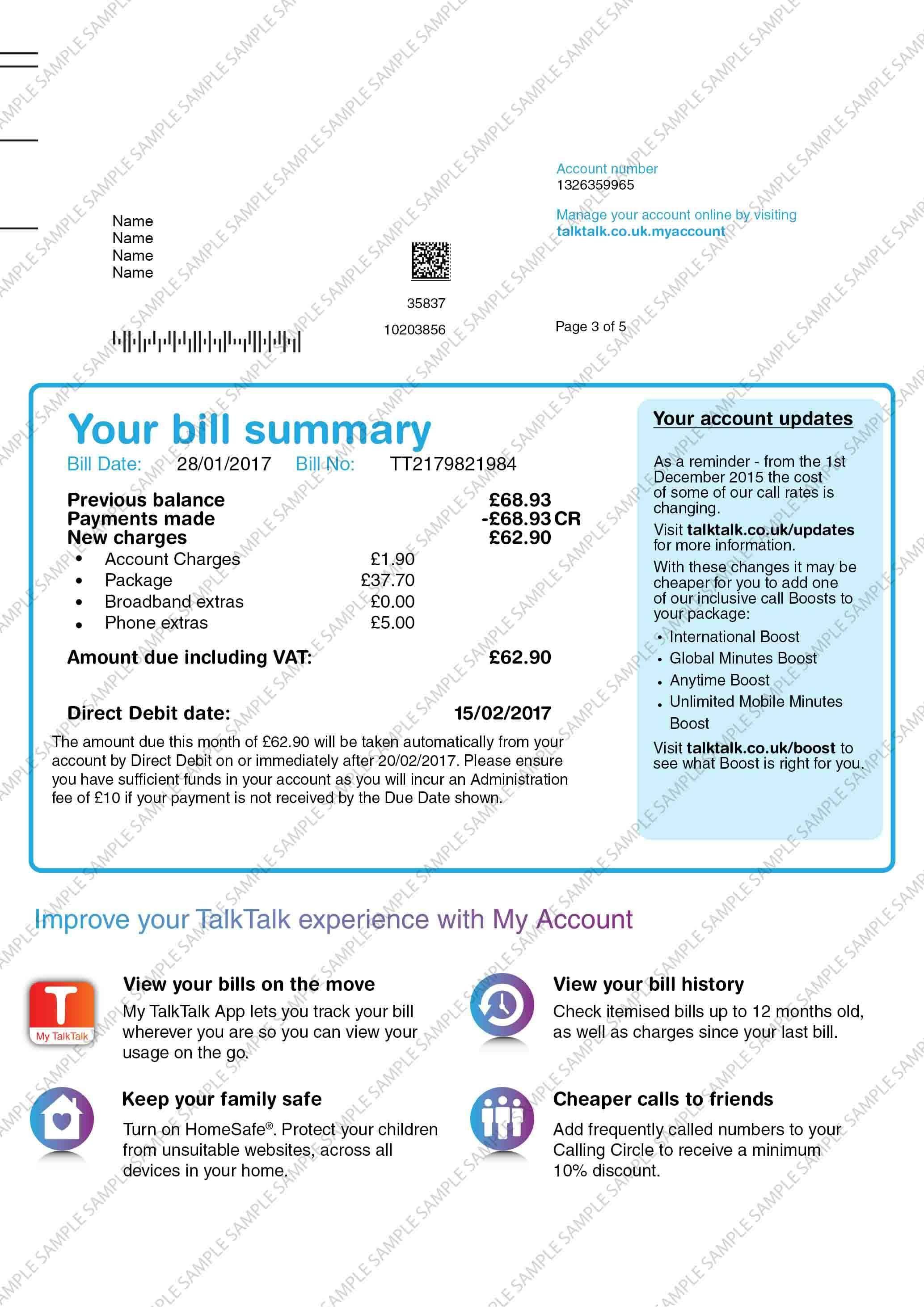 Talktalk Utility Bill Utility Bill Bills Names