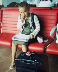 Alexandra, age 8, leaving on a wonderful adventure