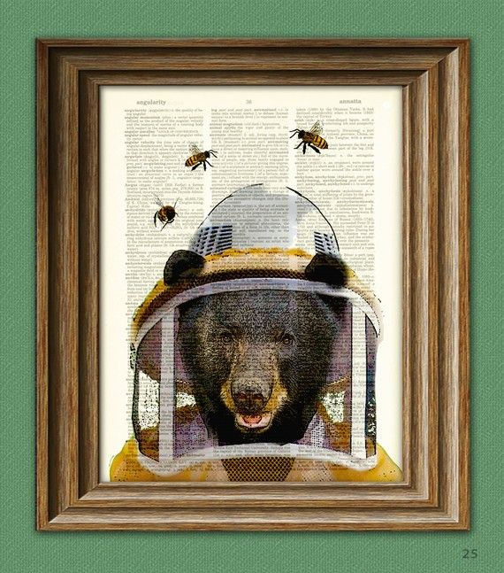 Beekeeper Bear illustration beautifully upcycled by collageOrama, $7.99 (Etsy)