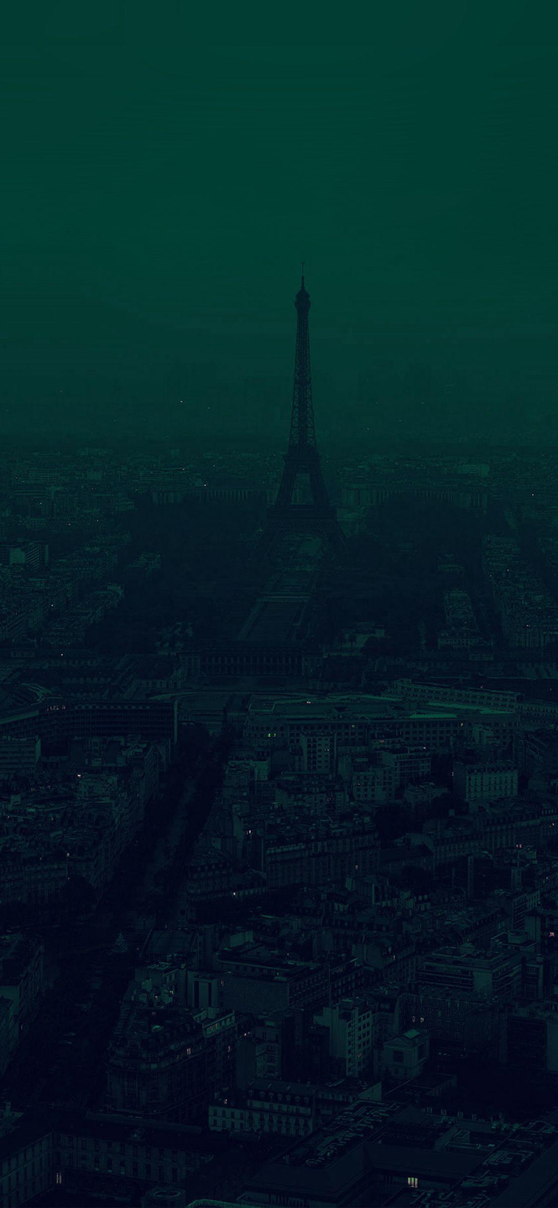 Iphonex Wallpaper Bb44 Paris Dark Green City Illustration Art Dark Green Aesthetic Dark Green Wallpaper Dark Green Background