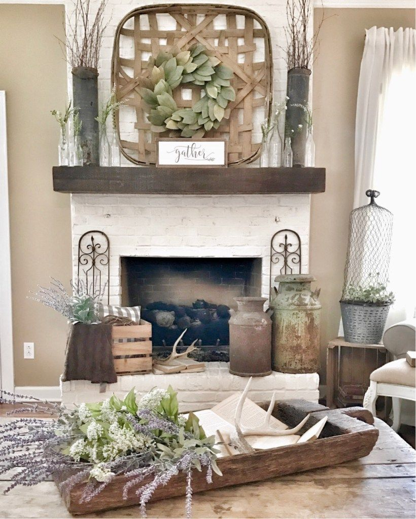 Farmhouse Fireplace Ideas: How To Paint Your Outdated Brick Fireplace
