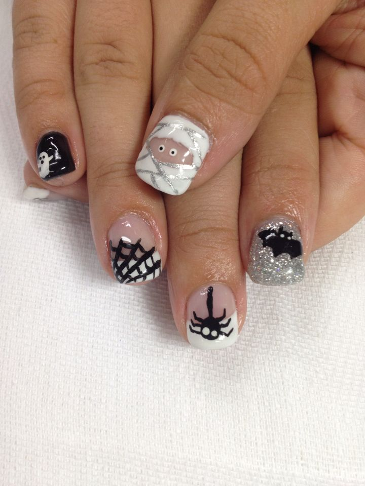 Super Cool Halloween Nails Mummy Spider Spider Web Ghost And Bat Nails All Done With Non Toxic And Odorless Gel Halloween Nails Nails Gel Nail Designs