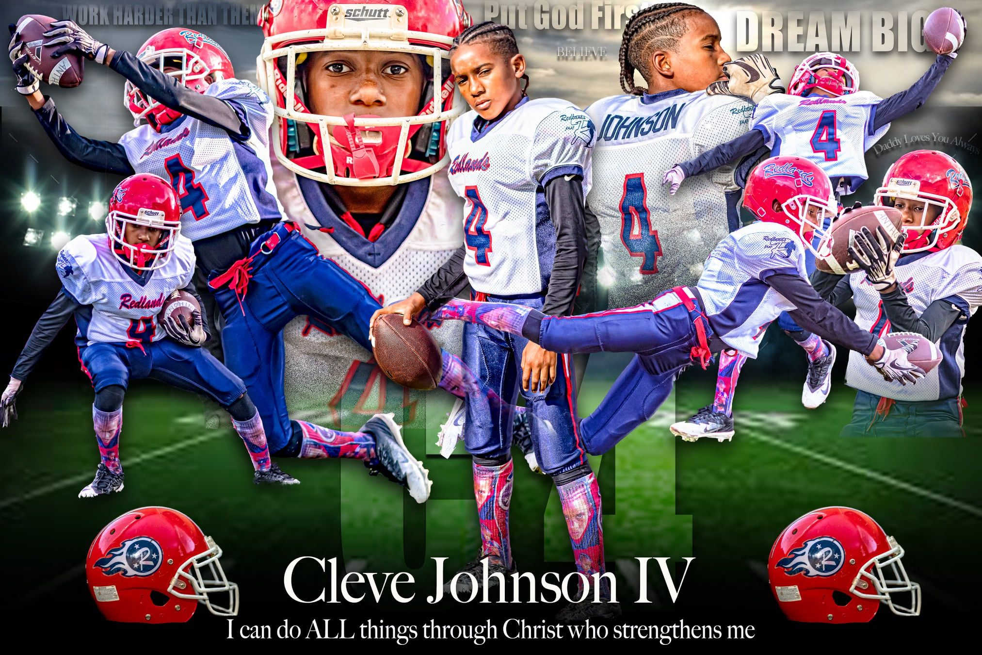 This Is A Canvas Collage Of A Youth Football Player With Images