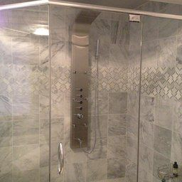 """Blue Ocean 64.5"""" Stainless Steel SPS8879 Shower Panel with Rainfall Shower Head, Body Nozzles, and Handheld Shower Head"""