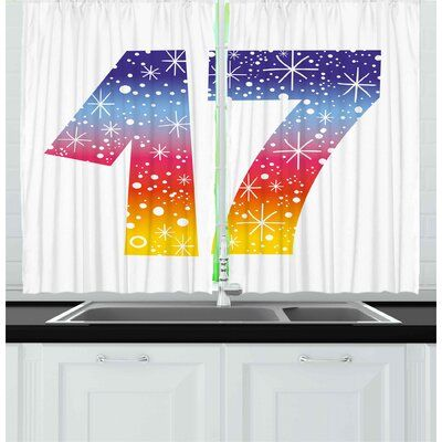East Urban Home 2 Piece 17th Birthday Kitchen Curtain | Wayfair #17thbirthday