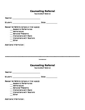 School Counselor Referral Form: This simple referral form allows ...