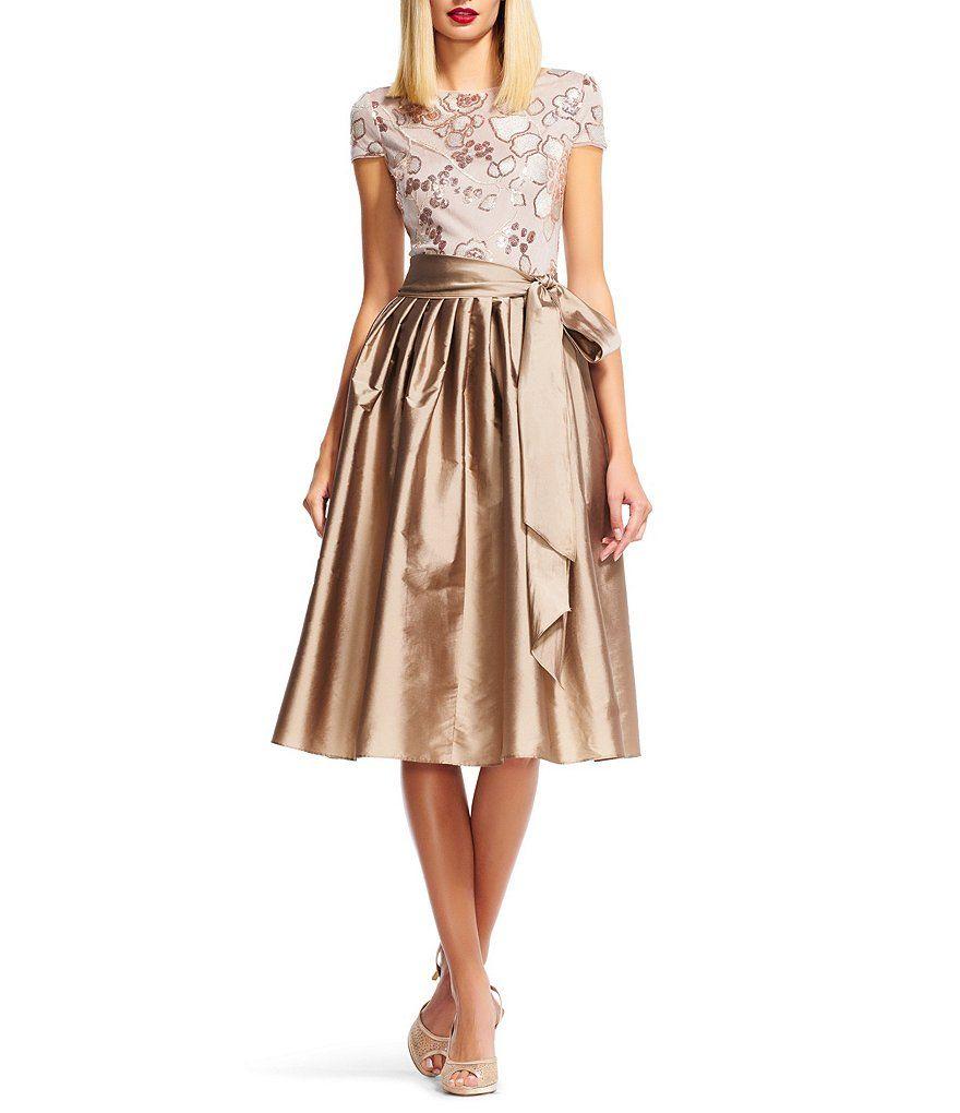 Adrianna Papell Sequin Lace Taffeta Midi Dress   Martha Gowns ...