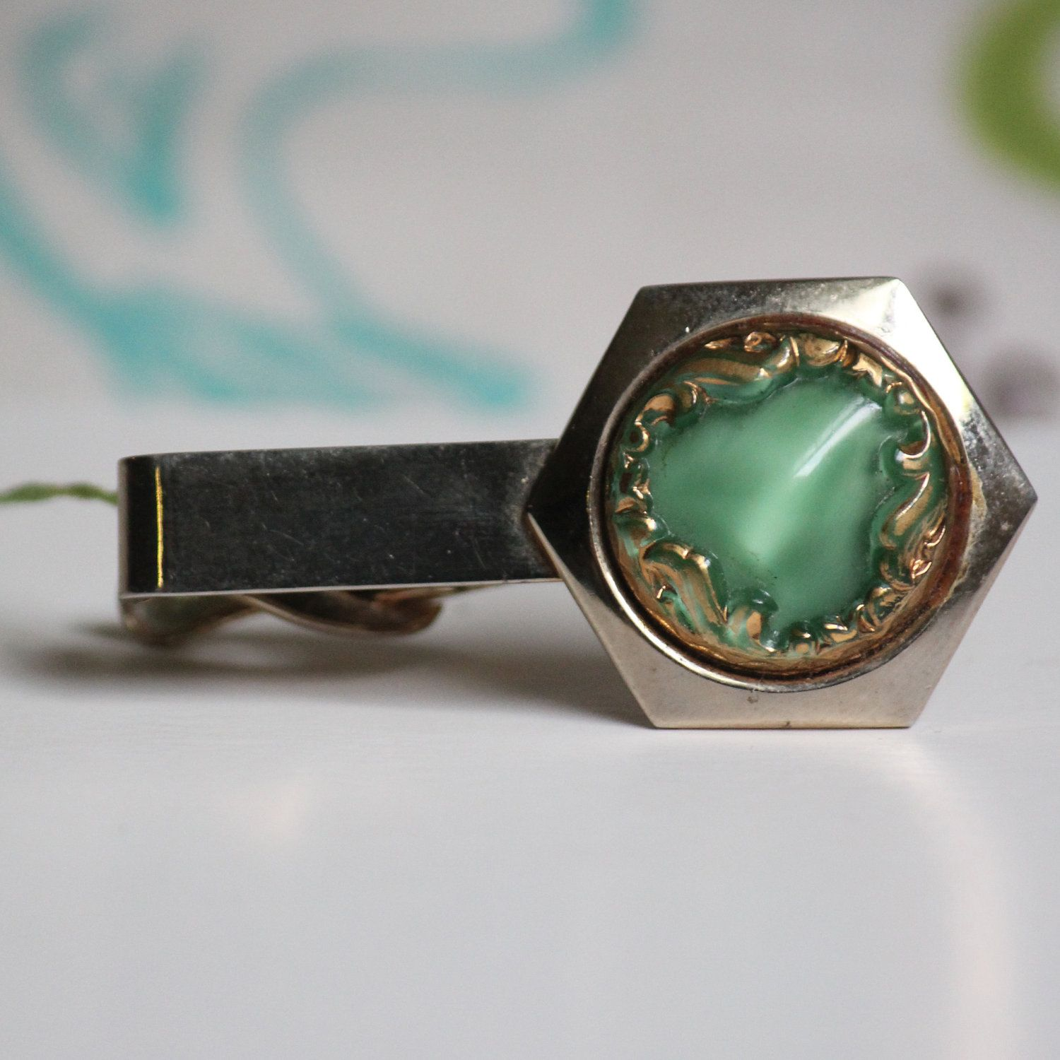 Vintage Silver Tone Metal Tie Clip with Scottish Thistle and Enamel Decoration Groom Best Man Accessory