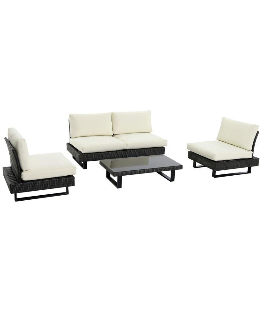 buy low level modern rattan 4 seater garden sofa set at argoscouk