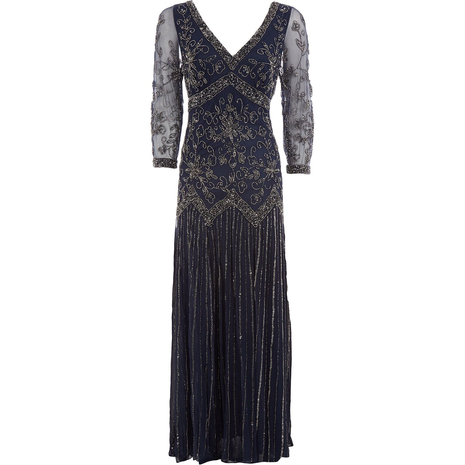 Pisarro Nights Navy Embellished V Neck Gown