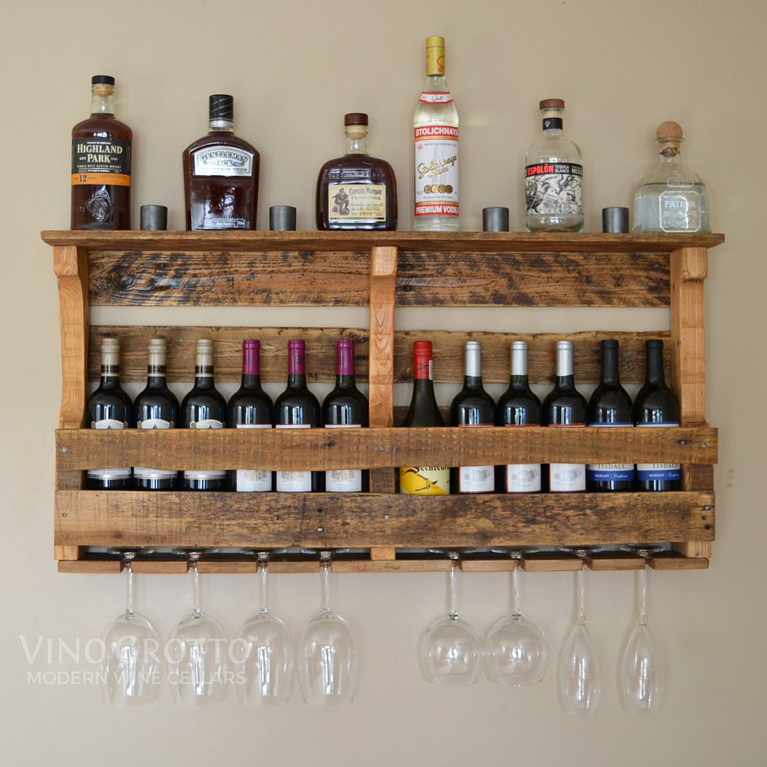Beautiful rustic finish on reclaimed pallet wood wine rack ...