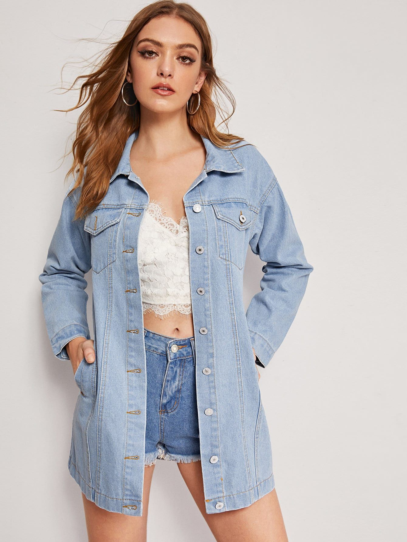 Ad Faded Longline Denim Jacket Tags Casual Blue Plain Long Other Button Pocket Long Sleeve Spr Longline Denim Jacket Denim Jacket Denim Jacket Women [ 1785 x 1340 Pixel ]