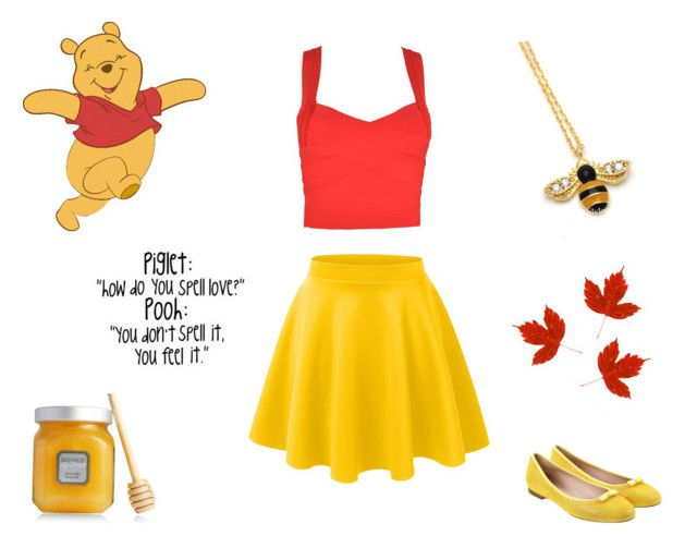 """""""Winnie The Pooh"""" by we-are-walt-disney ❤ liked on Polyvore featuring LE3NO, Laura Mercier, Unützer, yellow, disney and bear"""