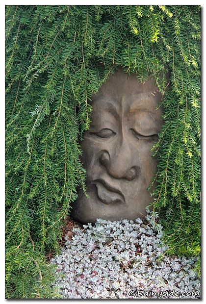 High Quality Face Sculpture Grdn Seen In The Oregon Garden, Silverton, Oregon.