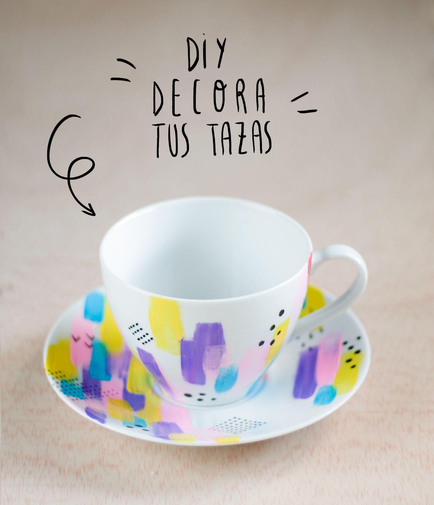 DIY: Decora tus tazas, como pintar ceramica - Aurea Mazo