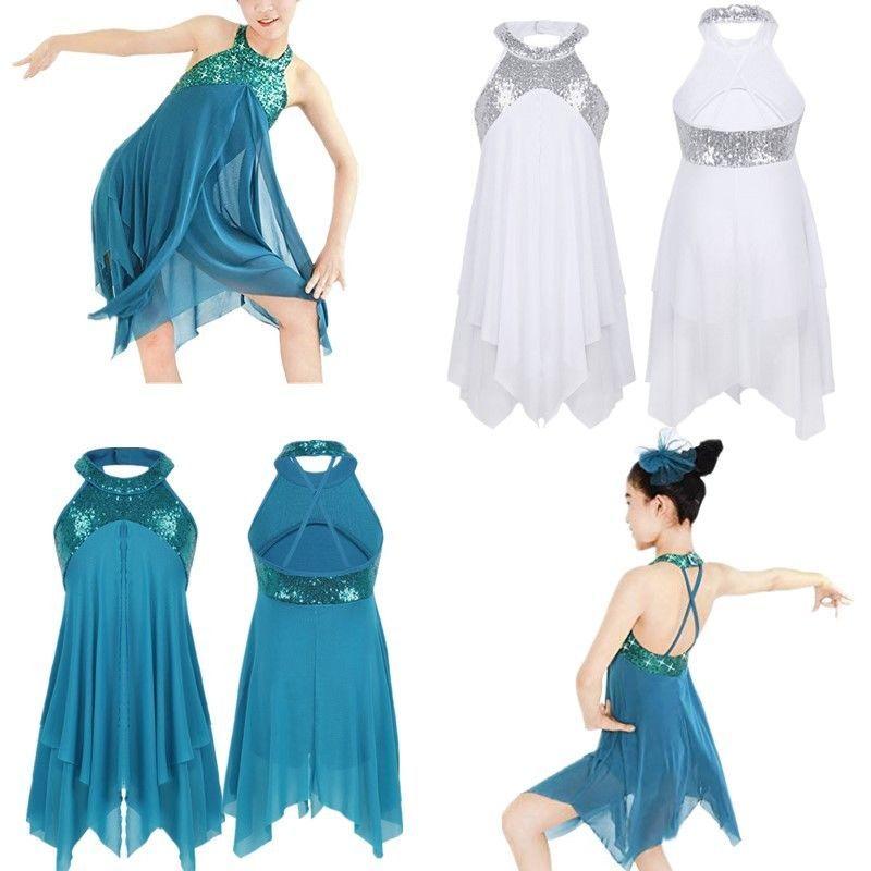Girls Cutout Back Lyrical Dance Dress Ballet Contemporary Costumes Leotard Skirt