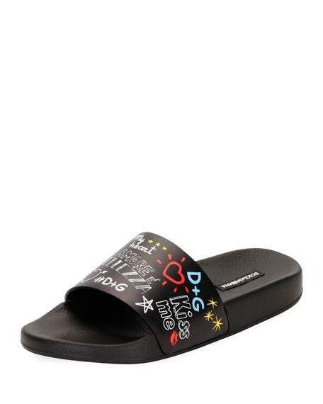 afae55a93 Graffiti-Print Leather Pool Slide Sandal by Dolce & Gabbana at ...