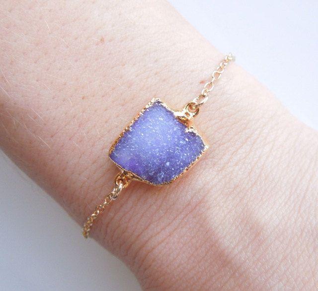 Drusy Bracelet in Periwinkle Blue, Purple : OOAK #druzy #drusy #druzybracelet #agate #periwinkle #blue #bracelet #jewelry