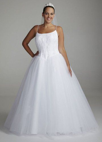 Davids Bridal Spaghetti Strap Tulle Ball Gown Wedding Dress With