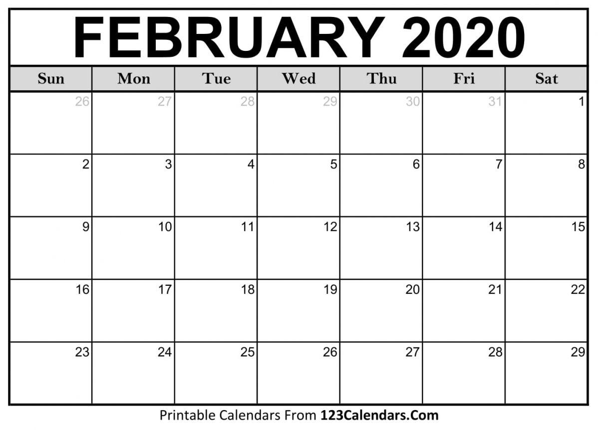 2020 February Printable Calendar In 2020 Editable Calendar