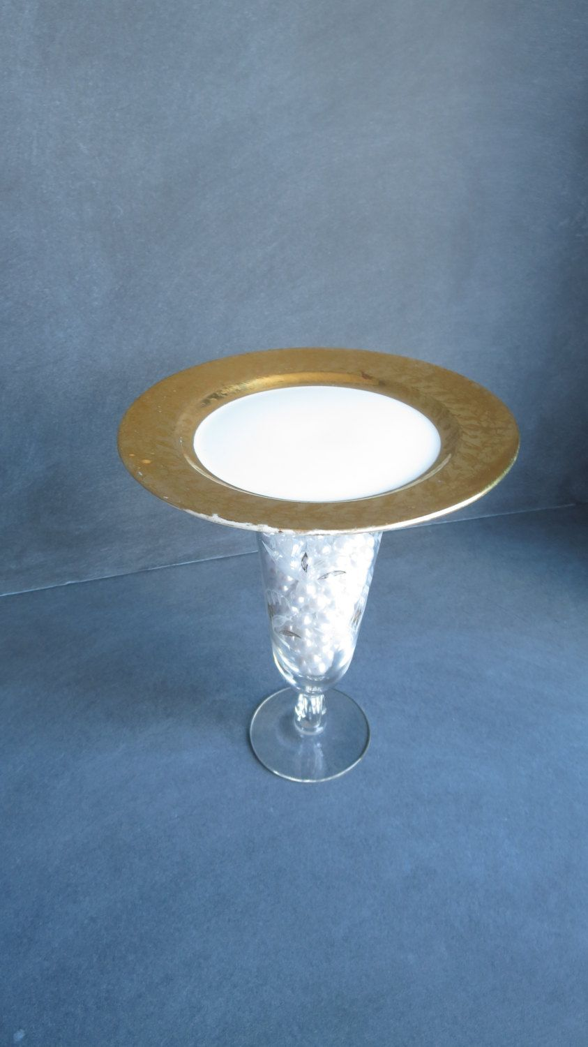 New to DancingDishAndDecor on Etsy Cupcake Stand Candle Holder | Vintage Gold and White Plate · Large PlatesWhite ... & Inidual Cupcake Stand Candle Holder | Vintage Gold and White ...