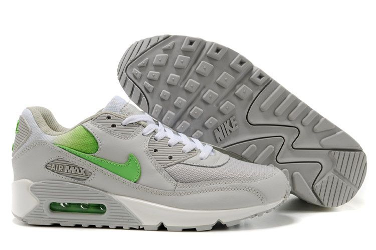 online store d3033 aea9f Men s Women s Nike Air Max 90 Shoes Light Gray Apple Green