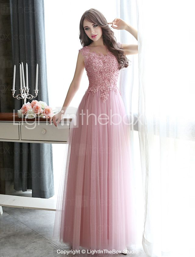 8f92849ad2 Formal Evening   Black Tie Gala Dress Sheath   Column Bateau Floor-length  Tulle with Appliques   Beading 2016 -  80.99