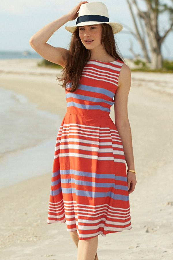 66c8fbe7a9a L.L.Bean Signature Poplin Dress in summer-ready stripes. Flattering  fit-and-flare silhouette. Improved tailoring for a more natural fit through  the top and ...