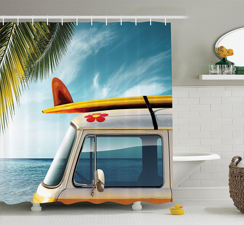 Vintage Wv Van Beach Surfboard Surf Summer Bathroom Shower Curtain Hooks Hippie Surfboard Decor Custom Shower Curtains Boho Bathroom