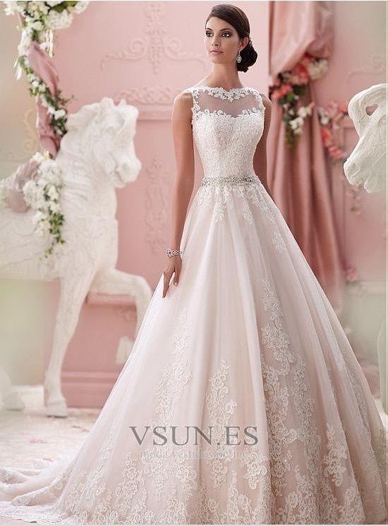 Vestido+de+novia+Alto+cubierto+Joya+Corte-A+Cinturón+de+cuentas+ ...