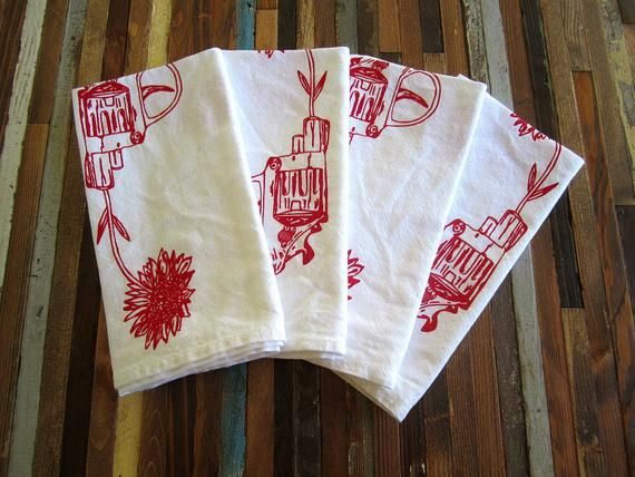 Cloth Napkins - Screen Printed Cloth Napkins - Eco Friendly Dinner Napkins - Revolver and Daisy - Lo #clothnapkins