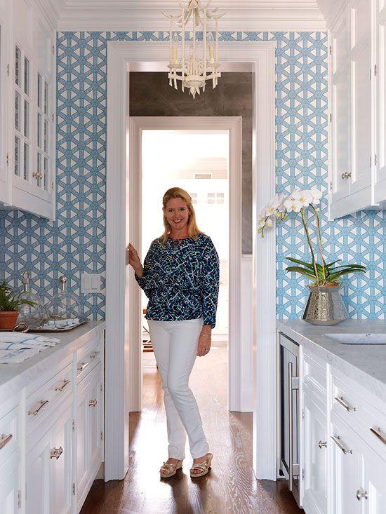 2011 Hampton Designer Showhouse: First Floor - Traditional Home. Lovely wallpaper and lantern. Meg Braff