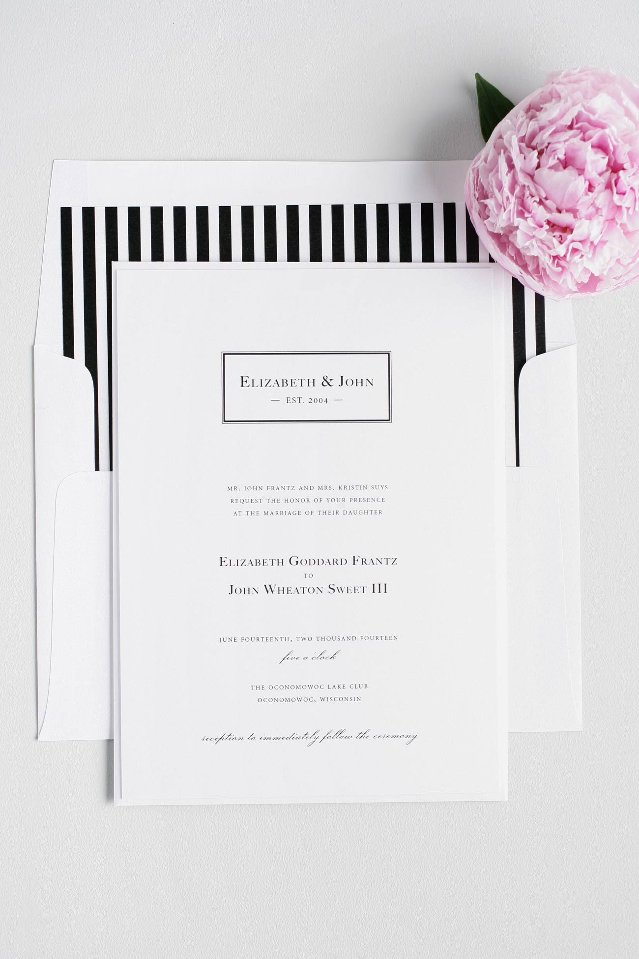 Black + White Striped Monogram Wedding Invitations | Striped wedding ...